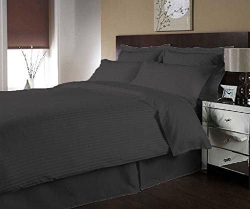 scalabedding Luxe 300Fäden aus ägyptischer Baumwolle Streifen Bettbezug farblich und Decken Kissen KING Dunkelgrau (Ägyptische Baumwolle Streifen-decke)