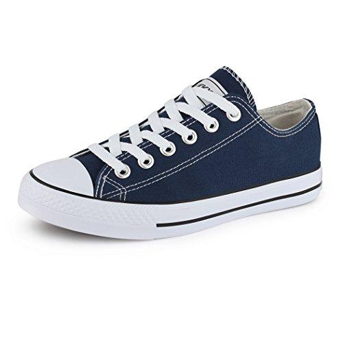 Best-Boots - Chaussure De Sport Femme - Sneakers Chaussure Basse Lacets Bleu - Bleu foncé