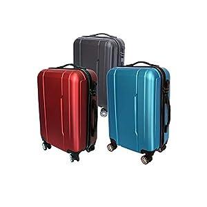 Maleta Avión Equipaje de Mano Viaje Cabina Trolley ABS Rígida 4 Ruedas 55x36x23 (Negro)
