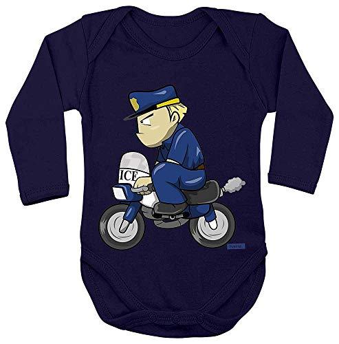 HARIZ Baby Body Langarm Polizist Lustig Motorrad Polizei Cops Plus Geschenkkarten Matrosen Dunkel Blau 62-68