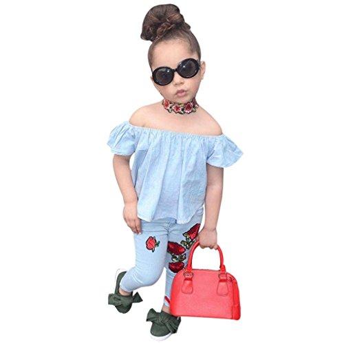 Kolylong® 1 Set (2-7 Jahre alt) Kinder Baby Mädchen sommer niedlich gedruckt Outfits Kleidung ( Tops+ Hosen) Sommerkleidung Mädchen Kleidung Set (130CM ( 5-6 Jahre alt), (Regenbogen Niedliche Kostüme)