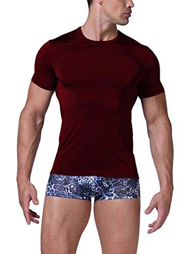 YCHENG Herren Sports Freizeit Kurzarm Basic T-Shirt mit Rundhalsausschnitt 2er Pack Rot