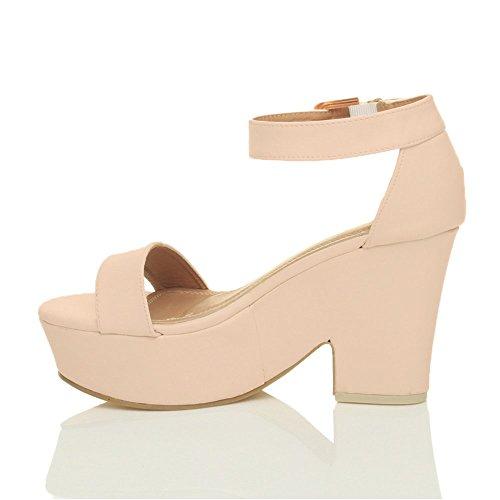 Damen Hochblockabsatz Peep Toe Plateau-Schuhe Party Knöchelriemen-Sandalen Größe Beige Matt