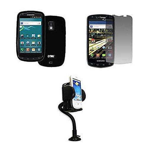 EMPIRE U.S. Cellular Samsung Galaxy S Aviator R930 Silicone Skin Case Étui Coque Cover Couverture, Noir + Réglable Voiture Dashboard Mont + Invisible Films de protection d'écran