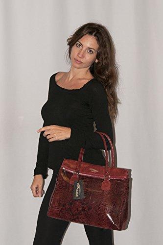 BORDERLINE - 100% Made in Italy - Borsa da Donna in Vera Pelle - ELENA Ghiaccio