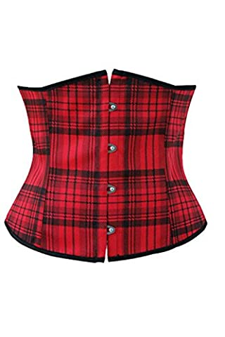 HAMANY Women's Black Red Plaid Boned Lace Up Bustier Corset,Size XL