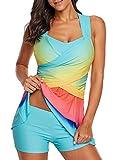 Dearlove Damen Push Up Tankini Sets Farbverlauf Bunte Retro Bikini Bademode mit Shorts Große Größen für Mollige Hellblau XL