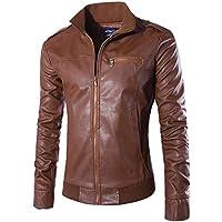UJUNAOR Herren Jacke Casual Einfarbig Kragen Lederjacke Mantel Tasche Sexy Boyfriend Sport Outwear