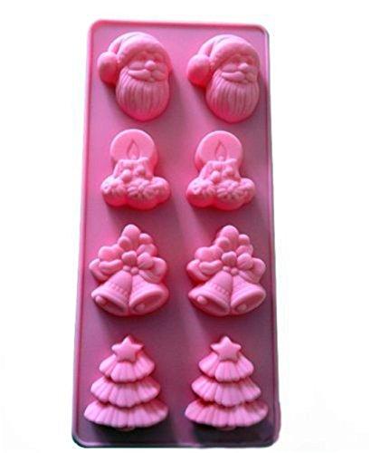 Fantasyday® stampo in silicone con 8 cavità per cubetti di ghiaccio, biscotti, tortini, cioccolato, dolci - forme di natale a tema