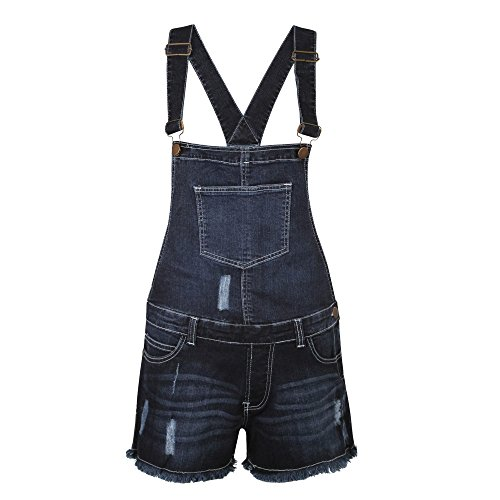 WOMENS LADIES SUMMER STRETCH DENIM DUNGAREE SHORTS JUMPSUIT (UK SIZE 14/XL, Dark Denim)