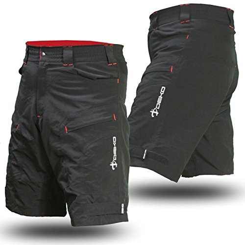 Deko MTB Mountain Bike Cycling Shorts for Off Road Cycling, Black (Small)
