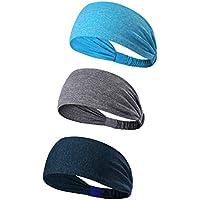 3Pack Sport Diadema/Banda de sudor antideslizante–Elástico de Headwear Bandana–La mejor ligera para correr Ciclismo Unisex Hot Yoga y Athletic entrenamientos