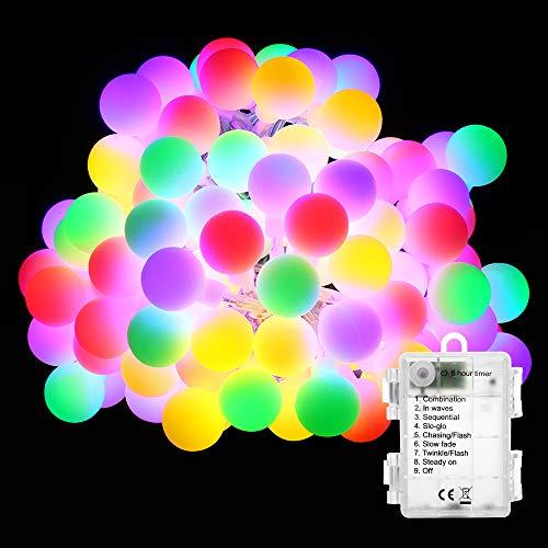 BrizLabs 50er LED Kugel Lichterkette Bunt 5M Batterie Partybeleuchtung Globe Außen, 8 Modi und Timer Funktion, Innen Weihnachtsbeleuchtung Stimmungslichter für Zimmer Hochzeit Party Deko, Mehrfarbig
