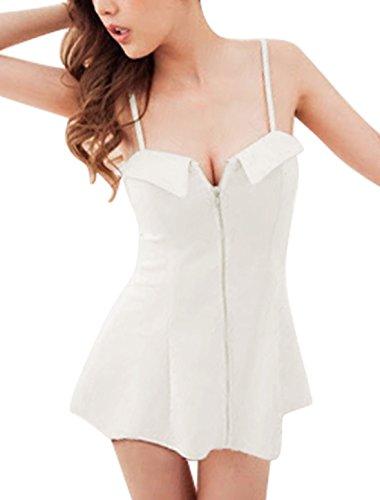 Femme Bretelles Fines Zip Fermé Front Robe Sexy Blanc