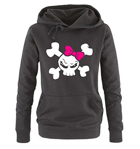 Comedy Shirts - Girl Skull - Damen Hoodie - Schwarz/Weiss-Pink Gr. XL -