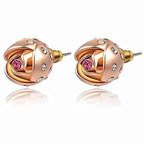 YEAHJOY Women's Rose Gold Plated Flower Shape Earrings Gunuine Austrian