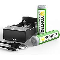 YONTEX Batterie 18650 Rechargeable 3600mAh 3.7V Accus 18650 Lithium-ion avec un Chargeur de USB Port pour Lampes de Poche, Caméra, etc [2 x Piles 18650]