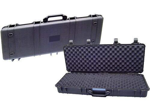 NEEZ Gewehr-Hartschalenkoffer, für Pistolen, Gewehrkoffer, Schaumstoffeinlage mit Würfelraster (105cm schwarzes Gehäuse)