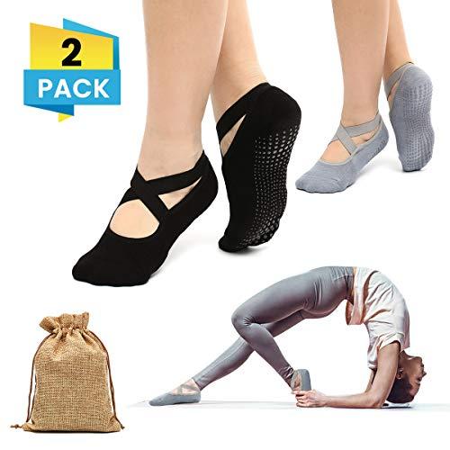 Charminer Calzino Antiscivolo Donna, Calzini Antiscivolo Yoga Pilates Danza Arti Marziali Fitness Ragazza Nero + Grigio