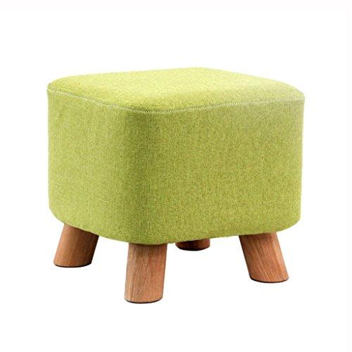 YYdy-Polsterhocker Holz Hocker Ottomane Fußbank Fußstütze Kleiner Sitz Fußstütze für den Innen- und Außenbereich Quadrat gepolstert (Farbe : Green)