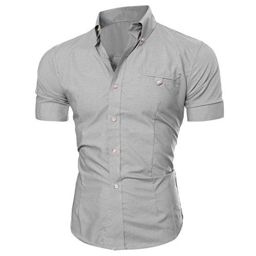 Herren Hemd T-shirt,Dasongff Herren Hemden Mode Luxus Business Stilvolle Slim Fit Kurzarm Freizeithemd Businesshemd Hemd Shirt Tops Sieben Farben Sommer (L, Grau) (Grau Anzug Mens Wolle)