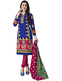 HRINKAR Women's Cotton Salwar Suit Dupatta Dress Material (HRKT1651_Yellow And Pink_Free Size)