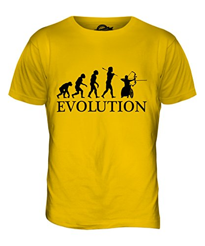 CandyMix Rollstuhl Bogenschießen Evolution Des Menschen Herren T Shirt Dunkelgelb