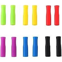 BESTonZON Puntas de pajitas de Silicona de 12 Piezas Las pajitas de Acero Inoxidable Cubren Puntas de pajuelas Anti-Quemaduras/frías para pajitas (Colores aleatorios)