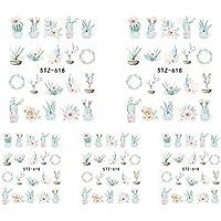 Kanggest.5 Hojas láminas de Transferencia con Agua para decoración de uñas DIY Arte de uñas Pegatinas Conjunto 3D Etiquetas engomadas del Arte del Clavo para Mujeres Niñas-Cactus