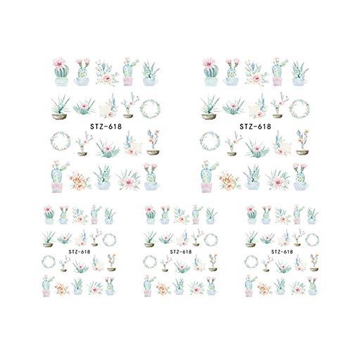 BIGBOBA Nagel Aufkleber, Blumen Schmetterling Nagel Abziehbilder, DIY Nail Art Deco, Frauen Nagel Ornamente, 6,4 * 5,2 cm, 5 Stück pro Set -