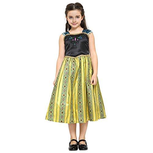 Imagen de katara  disfraz de anna frozen deluxe, vestido amarillo de la reina del hielo y del cuento de hadas de disney  para niñas de 8 9 años alternativa