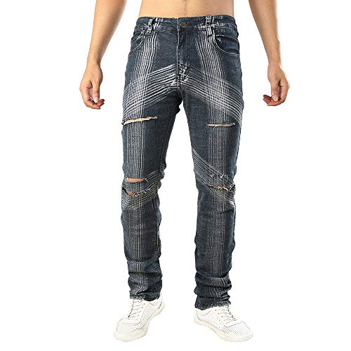 UFODB Jeans Pants for Men, Herren Destroyed Jeans-Hose Straight Leg Chino Pant Lang Trousers Freizeithose Tapered Fit Kleidung Casual Jogger Hose Top Qualität
