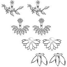 d326cf068221 ... pendiente detras oreja. AIM Cloudbed 4 pares de aretes de flor de loto  con cierre a presión para mujer