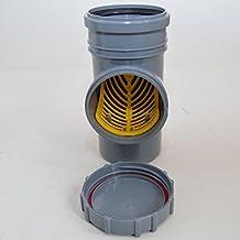 Fallrohrfilter Regenrohrfilter m. Laubfang DN100 Ø110 HT / KG- Rohre Farbe GRAU