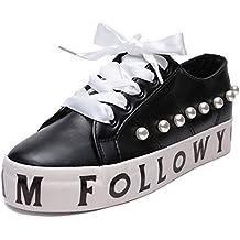 MForshop Scarpe Donna Sneakers Zeppa Alta Perle Stringate Eco Pelle Lacci  Casual lt0916 df8b1f08a90