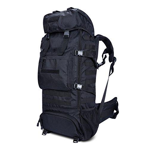 Gonex Trekkingrucksack 70L, Militär Rucksack 900D Oxford mit Innengestell und Regenschutz -