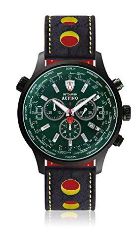 DETOMASO AURINO Racing Montre Hommes Chronographe Chronographe Analogique Quartz Bleu Racing Bracelet Cuir Vert Cadran Vert DT1061-N-820