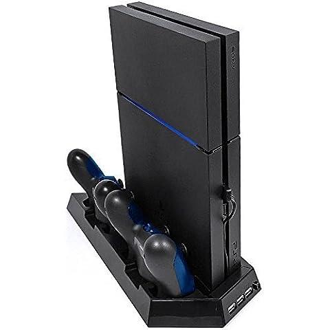 MP power @ Soporte vertical estación de carga con ventilador enfriador y 3 Puerto USB para Sony Playstation 4