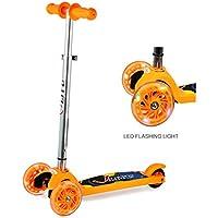 Patinete de 3 ruedas Patinete Plegable con 3 Brillante Ruedas Scooter Regulable de Altura Monopatín Portátil para Niños de 2 a 5 Años, Naranja