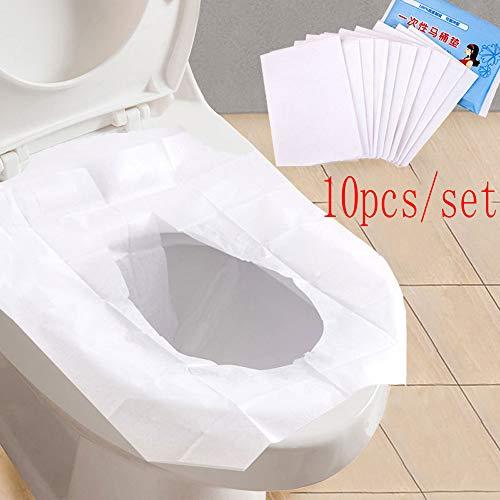Wokee 10 PCS Einweg wasserdicht Papier WC-Sitz Umfasst Universal-WC Einweg-Aufkleber WC Sitzbezug Business Travel Hocker Set die Töpfchen Bildschirmschutzfolien -