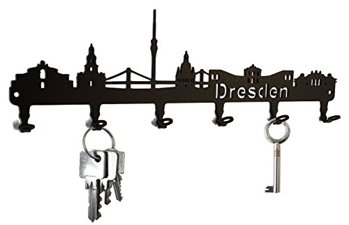 steelprint.de Schlüsselbrett/Hakenleiste * Skyline Dresden * - Schlüsselboard Sachsen, Schlüsselleiste, 6 Haken, schwarz, Metall