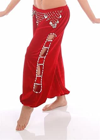 Superbe pantalon pour la pratique de danse orientale, velours sarouel pour la danse du ventre rouge
