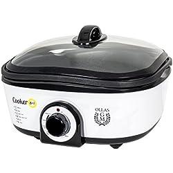 Olla eléctrica de cocción lenta de 5 litros de capacidad, Cooker 8 en 1 el Slow Cooker de Ollas GM. Multifunción (calentar, hervir, cocción lenta, cocción al vapor, saltear, plancha, rustir, freír) y con múltiples accesorios.