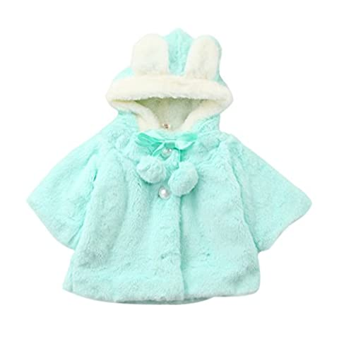 Kingko® 0~24 Month Baby Girls Infant Cotton Winter Warm Coat Cloak Jacket Thick Warm Clothes (Age:12~18 Month, Blue)