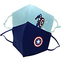 Yalla Baby Kids 3 Layer Filter Face Mask for Kids - Superhero Themed Adjustable Washable Reusable Face Cover for Boys Girls Non Medical(Pack of 2) (2, Boys-Captain)