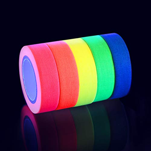 Neon Tape Cinta UV Neon fluorescente Tape-Cinta fluorescente , acabado mate (5 Bloquear/5colors) (15mm x 5m)