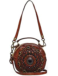 4979bbc147e7 Campomaggi Women s Leather Studded Bowling Bag Cognac