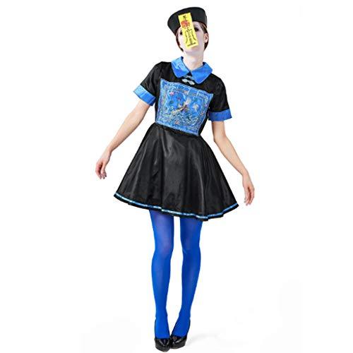 Zombie Rock, Chinesische Qing-Dynastie-Zombie-Robe erwachsene Frau Kleid Ghost Party Kinderkleid Vampir Kostüm Kleidung Halloween Party Eltern-Kind mit Hut Symbol Kleid Blau und - Eine Weibliche Zombie Kostüm