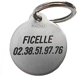 Machu - MEDAILLE CHIEN ronde couleur argent - 2,7 cm - convient à chien moyen et grand chien - GRAVURE offerte.