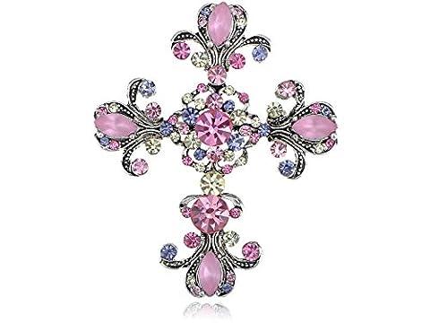 Alilang Antique Silvery Tone Pink Purple Rhinestones Pastel Holy Cross Brooch Pin
